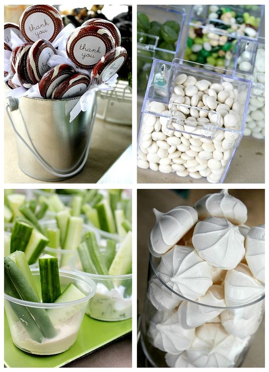 Green and white party treats
