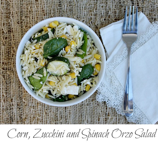 Corn, Zucchini and Spinach Orzo Pasta