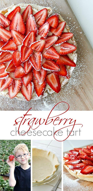 A delicious strawberry cheesecake tart #Pyrex100 #ad