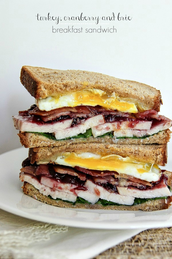 Holiday leftovers: turkey, cranberry and brie breakfast sandwich